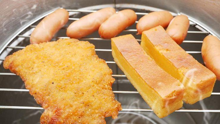フライドチキン・チーズケーキ・ウインナー燻製後