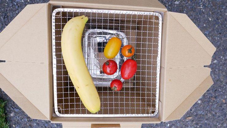 燻製前のバナナとトマト